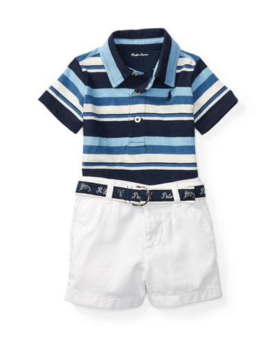 Striped Polo w/ Twill Shorts, Blue, Size 6-24 Months