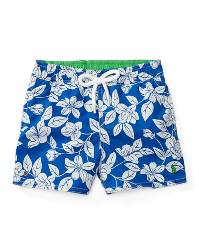 Floral Swim Trunks, Blue, Size 9-24 Months