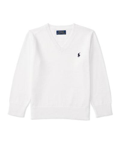 Cotton V-Neck Pullover Sweater, White, Size 5-7