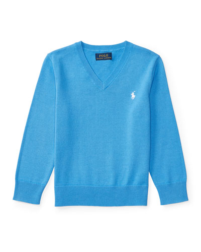 Cotton V-Neck Pullover Sweater, Blue, Size 5-7