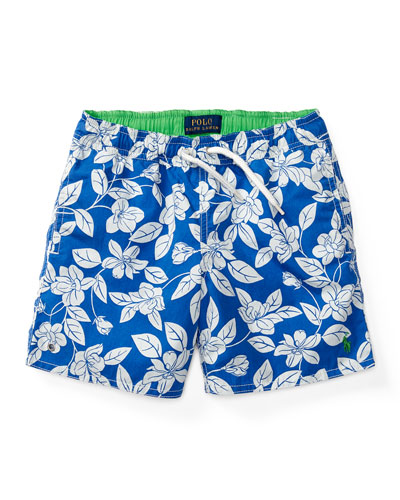Floral Swim Trunks, Blue, Size 5-7