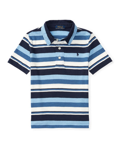 Short-Sleeve Striped Jersey Polo Shirt, Blue, Size 5-7