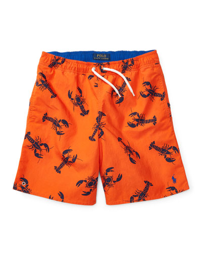 Drawstring Lobster Board Shorts, Red, Size 5-7