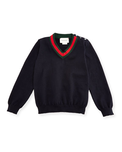 Cotton V-Neck Pullover Sweater, Navy, Size 6-24 Months