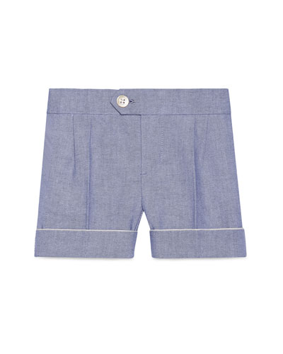 Cotton Oxford Suit Shorts, Light Blue, Size 12-36 Months