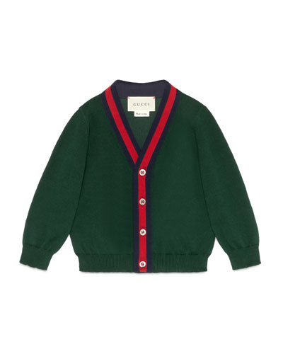 Cotton Button-Front V-Neck Cardigan, Green/Red, Size 6-36 Months