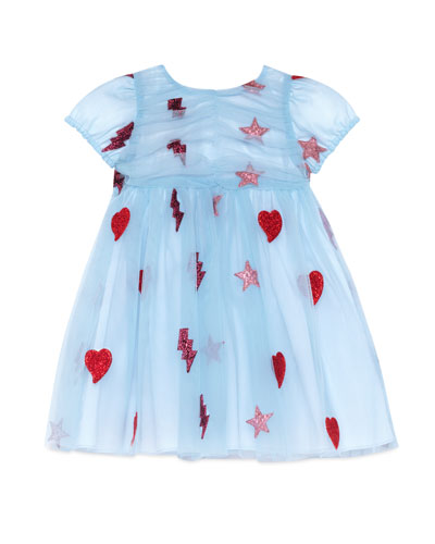 Cap-Sleeve Embellished Tulle Dress, Light Blue, Size 18-36 Months
