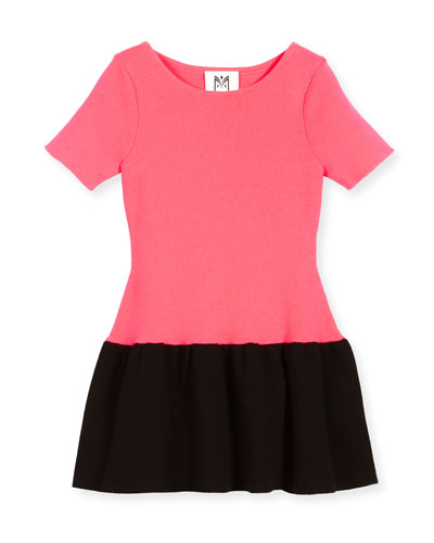 Short-Sleeve Ponte Fit-and-Flare Two-Tone Dress, Pink/Black, Size 4-7