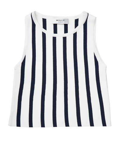 Sleeveless Striped Knit Shell, Blue/White, Size 8-14