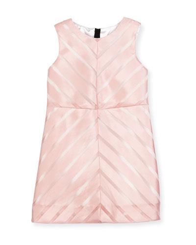 Sleeveless Mitered Stripe Shift Dress, Pink, Size 8-14