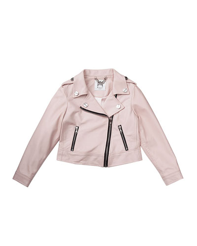 Vegan Leather Moto Jacket, Pink, Size 4-7