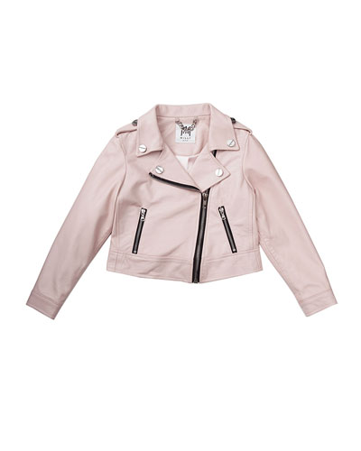 Vegan Leather Moto Jacket, Pink, Size 8-14