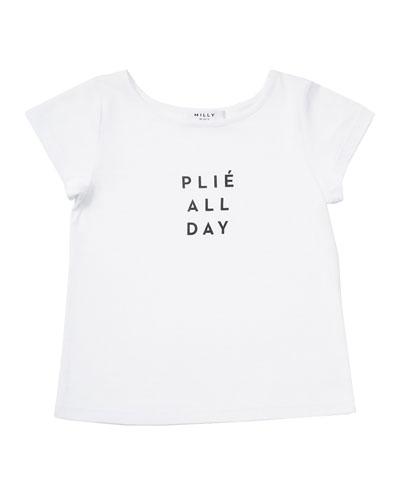 Plié All Day Jersey Tee, White, Size 4-7