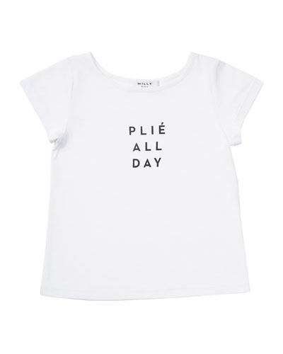 Plié All Day Jersey Tee, White, Size 8-14