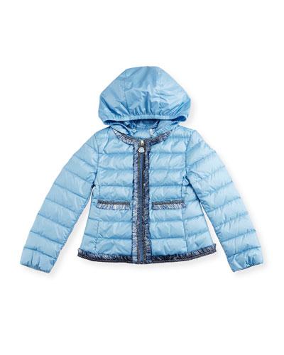 Kamaria Ruffle-Trim Down Puffer Jacket, Blue, Size 4-6