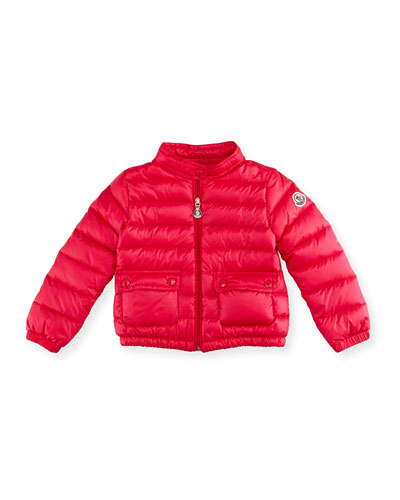 Lans Flap-Pocket Lightweight Down Puffer Jacket, Pink, Size 2-3