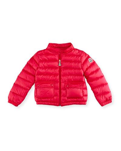 Lans Flap-Pocket Lightweight Down Puffer Jacket, Pink, Size 2-3