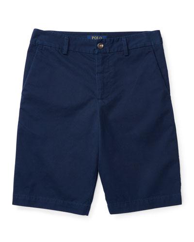 Twill Shorts, Blue, Sizes 2-4