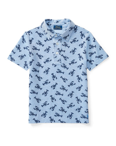 Lobster-Print Mesh Polo Shirt, Blue, Sizes 2-4