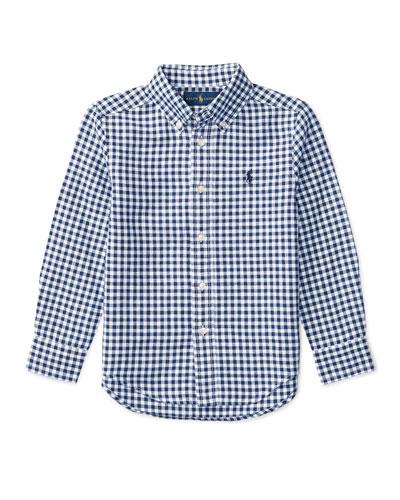 Long-Sleeve Gingham Sport Shirt, Blue, Size 2-4