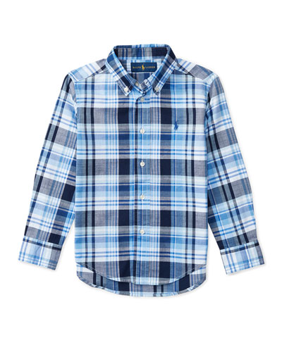 Long-Sleeve Plaid Sport Shirt, Blue, Size 2-4