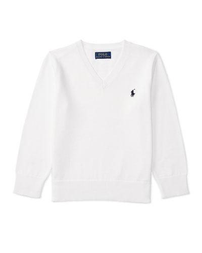 Cotton V-Neck Pullover Sweater, White, Size 2-4
