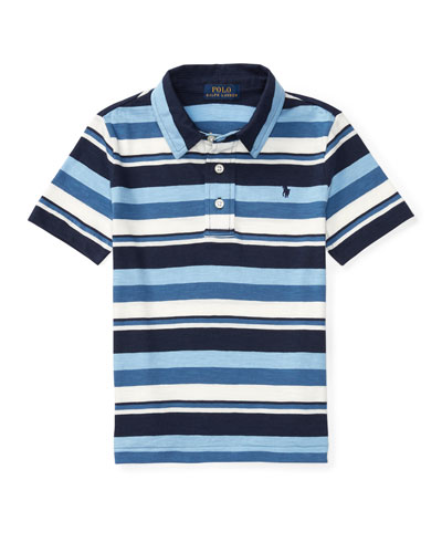 Striped Jersey Knit Polo Shirt, Blue, Sizes 2-4
