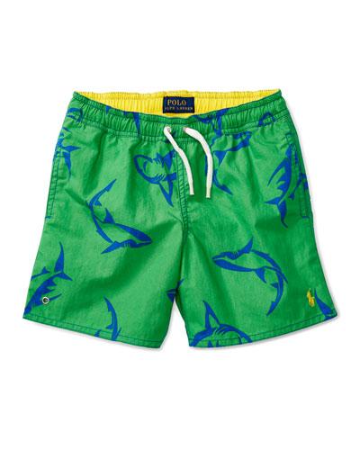 Shark Swim Trunks, Green, Size 2-4