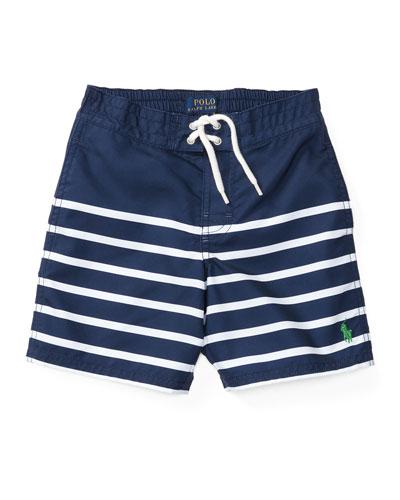 Striped Board Shorts, Blue / White, Sizes 2 - 4