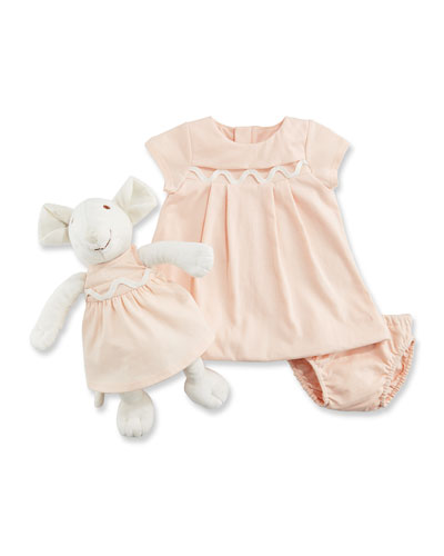 Dress, Bloomers & Mouse Toy Gift Set, Size 3-12 Months