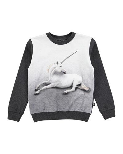 Magine Crewneck Unicorn Sweatshirt, Gray, Size 3-12