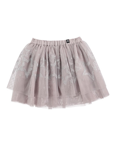 Benete Smocked Tulle A-Line Skirt, Silver, Size 2T-10
