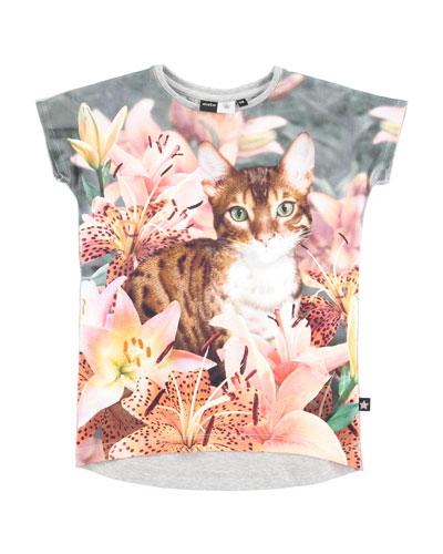 Ragnhilde Cap-Sleeve Cat Jersey Tee, Multicolor, Size 3-12