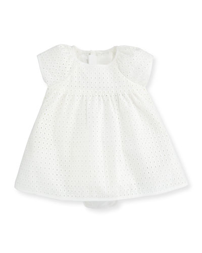 Embroidered Eyelet Dress, Off White, Size 3-12 Months
