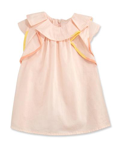 Flutter-Sleeve Poplin Shift Dress, Pink, Size 12-18 Months