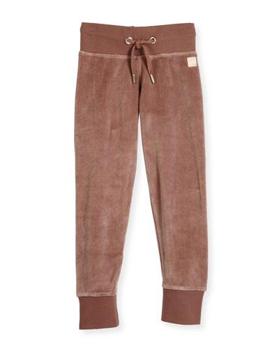 Adda Velvet Drawstring Track Pants, Magenta, Size 3-12