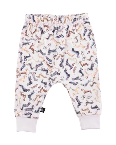 Simone Stretch Jersey Dachshund Leggings, Multicolor, Size 12-24 Months