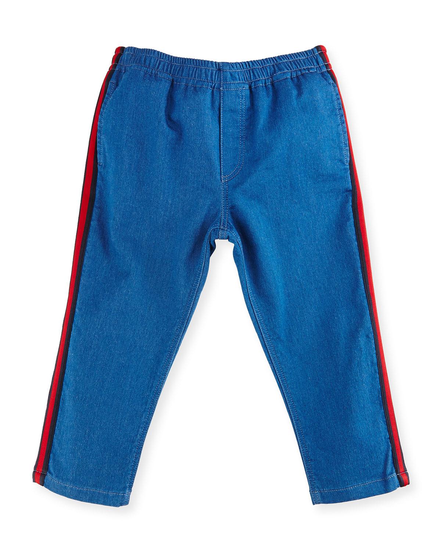 Felted Jersey Denim Track Pants, Blue/Green, Size 9-36 Months