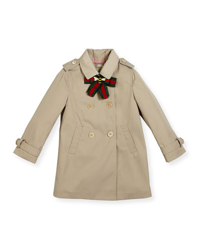 Twill Trenchcoat w/ Bow, Beige, Size 18-36 Months
