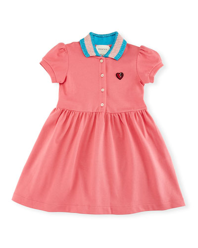Short-Sleeve Smocked Stretch Pique Dress, Size 9-36 Months