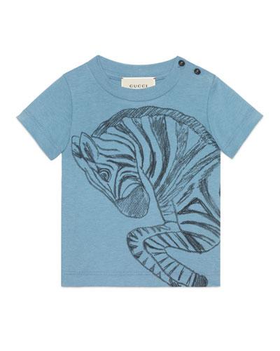 Short-Sleeve Zebra Jersey Tee, Light Blue, Size 12-36 Months
