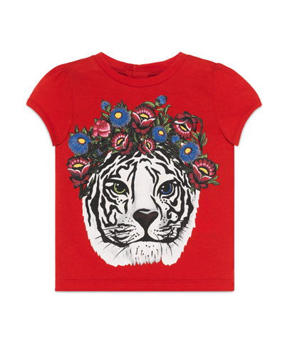 Cap-Sleeve Tiger Jersey Tee, Pink, Size 12-36 Months