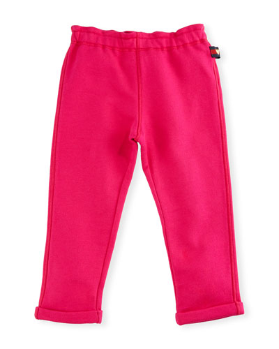 Felted Jersey Track Pants, Dark Pink, Size 9-36 Months