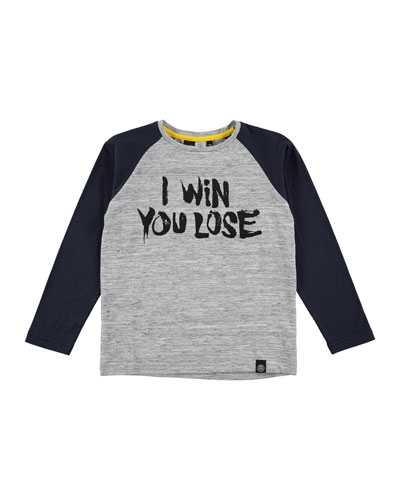 Rami Raglan I Win You Lose Tee, Blue/Gray, Size 4-12