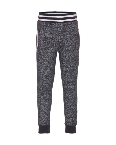 Archie Jersey Track Pants, Black, Size 4-12