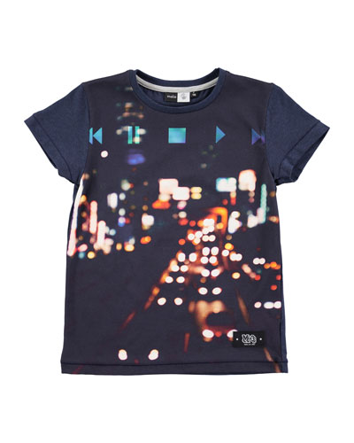 Runi City Lights Jersey Tee, Blue, Size 4-12