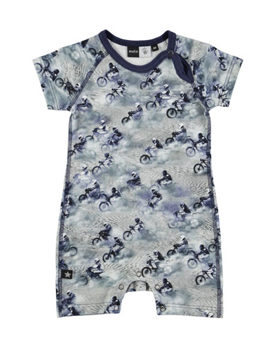 Felton Raglan Dirt Bike Shortall, Gray, Size 3-12 Months