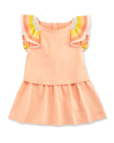 Rainbow-Ruffle Jersey Popover Dress, Multicolor, Size 2-3