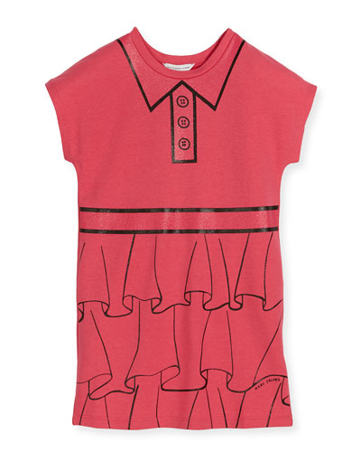 Cap-Sleeve Essential Jersey Trompe l'Oeil Dress, Pink, Size 6-10