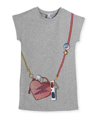Essential Jersey Heart Crossbody Dress, Gray, Size 6-10